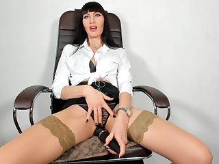 Stylish secretary masturbate