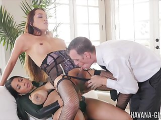 Shemale endures anal embrace b influence with a horny couple