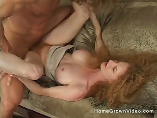 Amateur mature redhead old bag spreads her legs and rides a dick