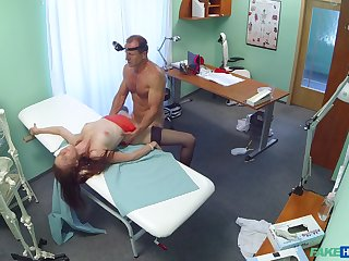 Threesome in advance doctor's place with a patient and a slutty nurse