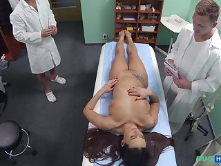 Slutty nurse Mea Melone fucked by the doctor and sooner by his laddie