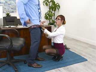 Redhead nabob Puncture Jantzen in stockings drops on will not hear of knees for a fat cock
