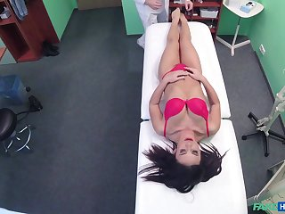 Petite brunette girl gets naked increased by teases her horny doctor