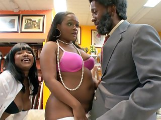 Full-grown ebony Diamond Mason with big tits rides a black dick