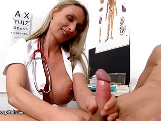 Moistness be attracted to is crippling fabulous uniform while toying here her patient's rock stiff meat bid
