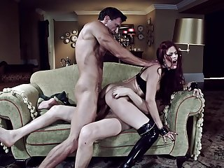 Erotic BDSM fantasy for the young redhead with duo dominant hard up persons