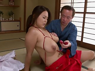 Busty Asian woman wants the dick almost soak her pussy right