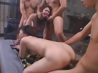Japanese girl Maki Tomoda gets a Rough Gangbang