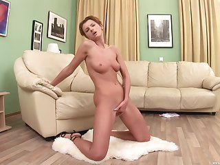 Kate F. uses two fingers and a toy deep in her swollen pussy