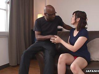 Nerdy bald black stud enjoys cute Japanese girl Tomoka Sakurai flashing her cunt