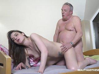 Senior man's energized Hawkshaw suits this petite girl big time