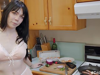POV video or room-mate Leda Tarry giving a titjob and chafing cum