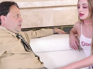 Young promiscuous catholic gives her stepdad's cock one on one attention