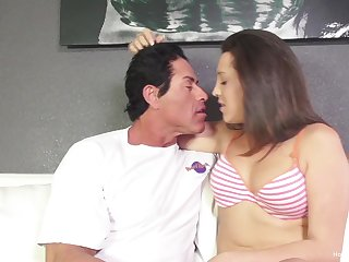 Horny brunette slut Bridgette Michaels has a thing for older man