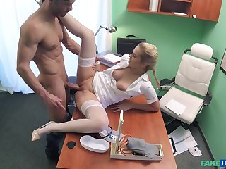 Hot blonde nurse takes care of a handsome, well-endowed patient
