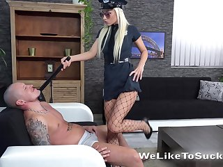 Blonde nearby sexy cop uniform Victoria Daniels bangs her new lover