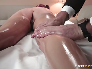 Aroused woman receives much more than just rub down