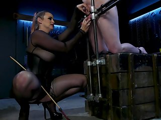 Dominant old bag Bella In top form tied up her male slave to agony his dick