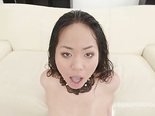 Anal, Asian, Brunette, Double, Double penetration, Gangbang, Horny, Interracial, Lingerie, Stockings, Tattoo, Asian anal, Sex,