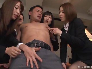 Large group sex party with lot of blue babes in get under one's office
