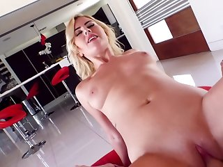 Dazzling blonde with perky boobs sucks and rides roommate's tool