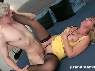 Curious lad thrashes a big-tits granny's leathery pussy
