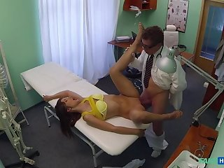 Amazing Brunette Sees Doctor About Her Hot Pussy