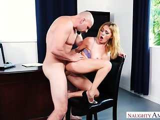Caucasian Krissy Lynn fucking in the chair with her big tits