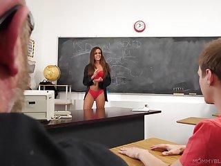Teacher in a red lingerie, seductive classroom hardcore XXX