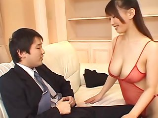 Amazing hottie Ai Sayama jerking a load of shit with her firm boobies