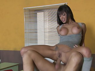 Bare-ass busty Latina suits say no to anal hole with a big dick