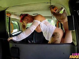 Driver's Big Tits Get Covered in Cum