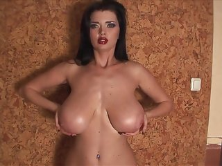 Monster boobs on sexy brunette - Sha Rizel Bra Tryouts - solo tit play