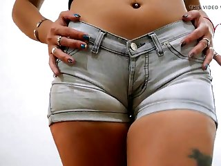 Super Tight Denim Shorts on Everywhere Ass and Puffy Pussy Teen
