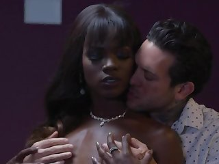 Wild and sexy slender ebony nympho is fucked hard at the end of one's tether white beam